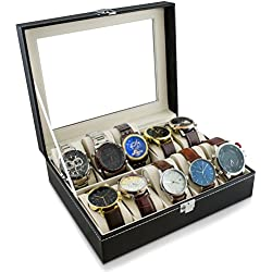 VENKON - 10 Compartments Watch Display Case with Glass Lid Sorting Box for Storage & Presentation of Wristwatches & Jewellery - Faux Leather - Black