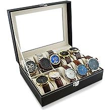 VENKON - Caja para 10 Relojes de Pulsera Vitrina Joyería Almacenamiento y Presentación de Reloj Organizador - Cuero Sintético Negro