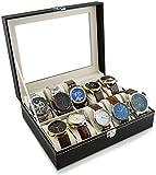 Uhrenbox zur Aufbewahrung von 10 Uhren - Schwarz 26 x 21 x 8 cm - Armbanduhr Präsentation Uhr Organizer - Grinscard