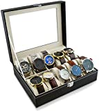 Caja de reloj para guardar 10 relojes - Negro 26 x 21 x 8 cm - Reloj de pulsera Presentación Reloj...