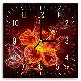 Feeby, Wanduhr, mehrfarbige Deco Panel Bild mit Uhr, 30x30 cm, Blume, Flamme, Feuer, ROT