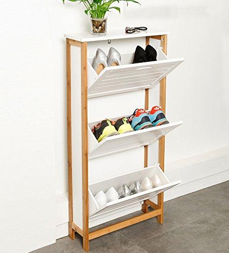 ZRI Bamboo Schuhschrank Regalsystem Bambusholz Schuhablage mit 3 Klappen,107x53x18CM/Schuhkipper in...