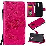 MOONESS Custodia Xiaomi Redmi Note 8 PRO -Rosso Custodia Flip Premium Protettiva Portafoglio PU Pelle Case Cover(O-Rosso)