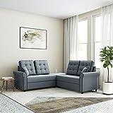 Amazon Brand - Solimo Cartina 5 Seater L Shape Fabric Sofa Set (Grey)