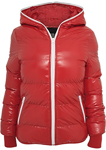Urban Classics Ladies Shiny Bubble Jacket Girl-Jacke schwarz/weiß Rot