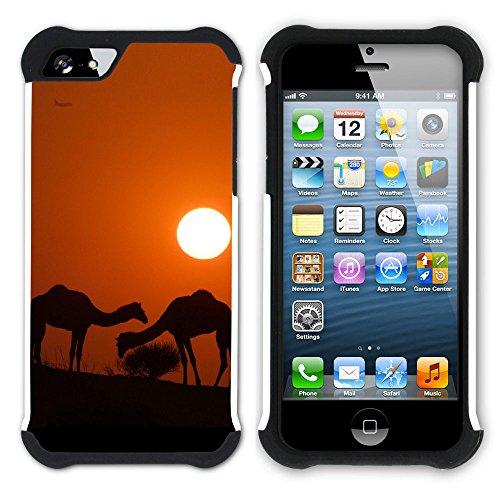 Graphic4You Kamel Tier Wüste Einöde Hart + Weiche Kratzfeste Hülle Case Schale Tasche Schutzhülle für Apple iPhone SE / 5 / 5S Design #9