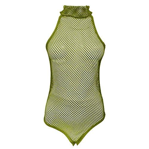 Janisramone Damen Body / Einteiler Formender Body schwarz * Einheitsgröße Khaki