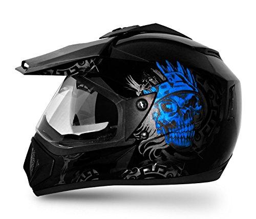 Vega Off Road OR-D/V-RGR-KMB_L Ranger Full Face Graphic Helmet (Black and Blue, L)