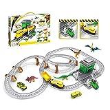 SPFAZJ Intellektuelle Spielzeug Kinder Puzzle zusammenbauen Zug dreidimensionale Track Projekt Dinosaurier Transport Station Modell Geschenk Box-Set