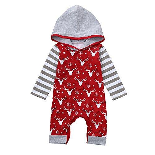 Kinderkleid Honestyi Neugeborenes Baby Mädchen Rotwild Gestreifte mit Kapuze Spielanzug Overall Weihnachtskleidung (Rot,70)
