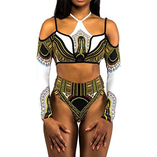 IMJONO.Frauen Bandage Bikini Monokini Push Up gepolsterter BH Bademode Badeanzug Set(Weiß,Small)