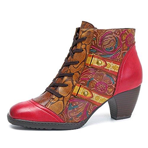Socofy Damen Ankle Boots, Kurzschaft Stiefel High-Top Classic Lederstiefel Leather Boots Frau Zipper Handmade Chukka Lederschuhe Rot 37 (Chukka Classic)