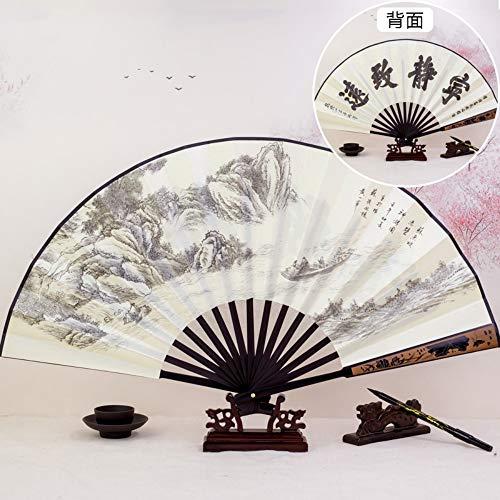 XIAOHAIZI Faltfächer Faltender Fächerfächer Chinesischer Antiker Retro- Männerkleidung Der Männer Verzierte Tanz Doppelseitige Faltbare Tragbare Tragbare Fächerruhe