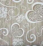 Tessuto Cotone Shantung CUORI SHABBY Ghirigori Sabbia 280x280 cm Vari Colori