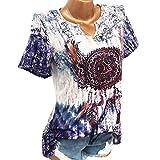 TUDUZ Damen Schöne Große Größen Windglocke Drucke V-Ausschnitt Kurzarm Bluse Pullover Tops Shirt (XXXXXL,Blau)