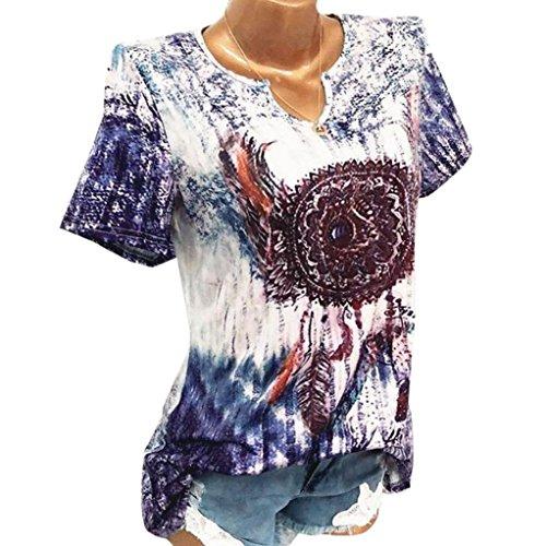 TUDUZ Damen Schöne Große Größen Windglocke Drucke V-Ausschnitt Kurzarm Bluse Pullover Tops Shirt (M,Blau) (Crew Wolle Weste)