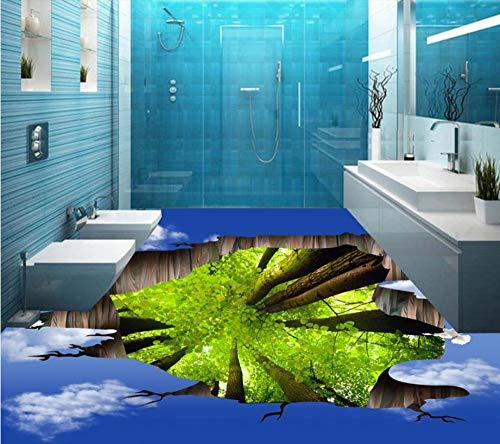 3D boden aufkleber benutzerdefinierte 3d boden wohnzimmer aufkleber blaue bäume selbstklebende PVC vinyl bodenbelag, 200 cm X 140 cm (Die Korallen Insel)