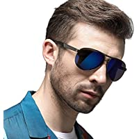 YJF Montar Gafas de Sol polarizadas para Hombre Marco de Metal Ligero UV 400 Protección