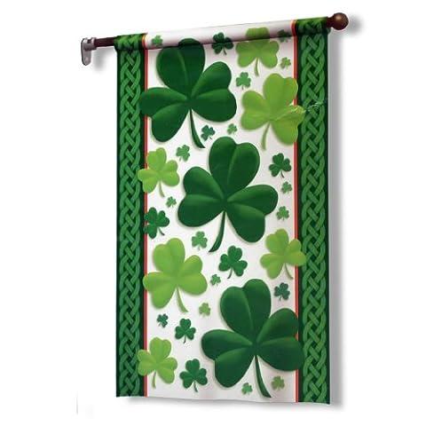 Drapeau de décoration extérieur trèfle vert 97cm