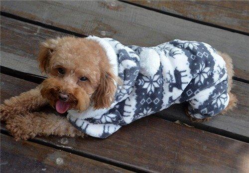 QIYUN.Z Casual Vier Beine Schwarz Weißem Samt Schnee Rehe Weihnachten Hoodie Hund Pullover Winter Warme Jacke Haustier Hunde Bekleidung & Zubehör Shirts Sweater Hoodies S M L Xl Xxl - 5
