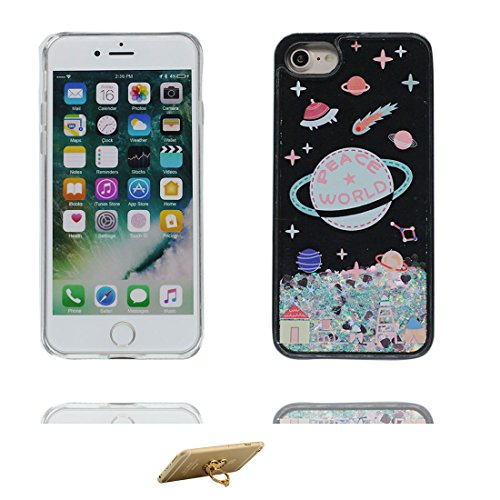 iPhone 6 Plus Custodia, Silicone trasparente duro Flowing Bling Cover Shell Semplice Progettato per iPhone 6s Plus Copertura (5.5 pollici), iPhone 6S Plus Case - e ring supporto [ Fenicottero ] COLOR 2