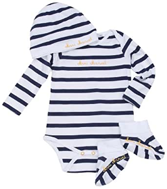 Little Marcel Lahna - T-Shirt - Mixte Bébé - Blanc/Rayé Marine - 12 mois