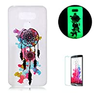 For LG G6 [with Free Screen Protector] Funyye [Night Luminous] Fluorescent Fashion lovely Lightweight Ultra Slim Anti Scratch Transparent Soft Gel Silicone TPU Beautuful Pattern Cover Case for LG G6- Dreamcatcher