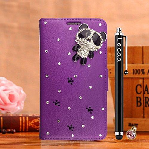 Locaa(TM) Pour Apple IPhone 7 Plus IPhone7+ (5.5 inch) 3D Bling Case Coque Fait Cuir Qualité Housse Chocs Étui Couverture Protection Cover Shell Phone Avec [Couleur 2] Doré papillon - Rose Panda 1 mignon 1 - Violet