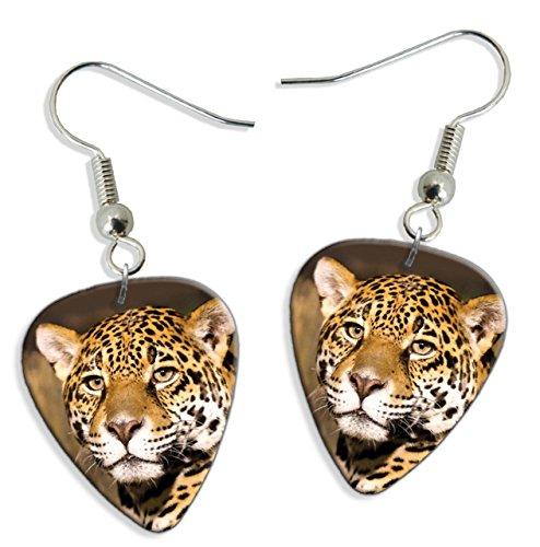 Leopard Face 2 X Logo Gitarre Plektrum Pick Ohrringe Earrings (GD) -