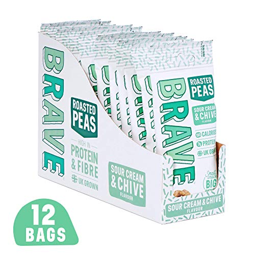 BRAVE Roasted Peas - Delicious high Protein, high Fibre Snack - Sour Cream & Chive (12 x 35g)