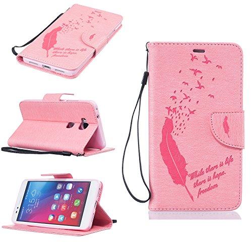 Hülle für iPhone 7 (4.7 zoll), Owbb Feder Vogel Mode Muster Handyhülle PU Ledertasche Flip Cover Wallet Case mit Stand Function Innenschlitzen Design Rosa(Ein freier Stylus als Geschenk) Rosa