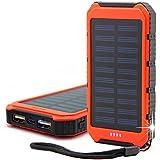 Cargador Solar, Bovon 10000mAh Batería Externa Portátil Panel Solar Doble USB Puertos Banco de Energía para iPhone Samsung Android Móviles y Otros Dispositivos Digitales (Naranja)