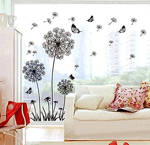 ufengke® Schwarze Löwenzahn und Schmetterlinge Fliegen im Wind Wandsticker, Wohnzimmer Schlafzimmer Entfernbare Wandtattoos
