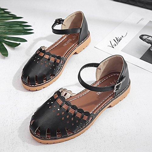 Lgk & fa estate sandali Baotou Hollow piatto sandali da donna estate 2piatto con Jane scarpe da donna Black