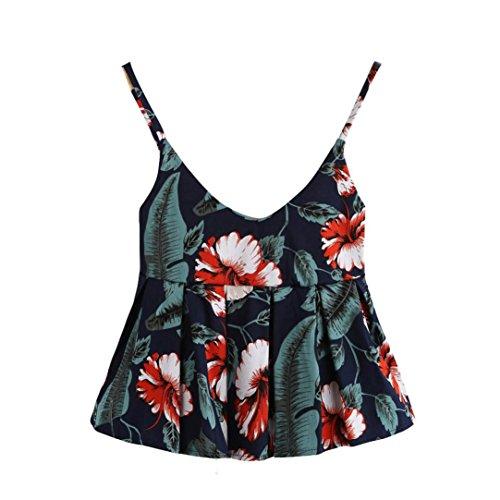 ASHOP Bluse Damen, T Shirt Herren, Frauen Sexy Weste Mode Blumendruck Camisole Baumwolle Ärmelloses T-Shirt (M, Marine)