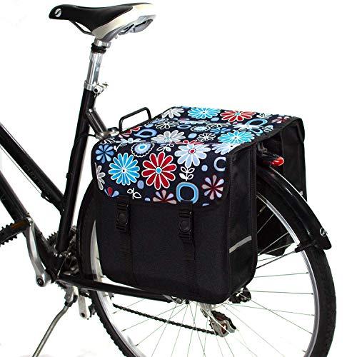 BikyBag-Beluko Clásica Doble Alforjas Bolsa para Bicicleta (Margarita en marrón)