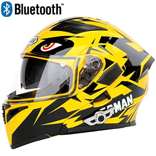 JohnnyLuLu Casco Moto modellabile Bluetooth Smart con Doppia Visiera, caschi Moto D.O.T con Cuffia e Microfono incorporati con Doppio Altoparlante,Yellow,XL