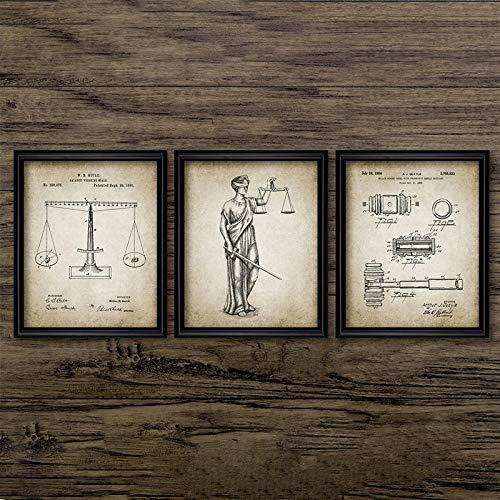 Abogado Lady Justice Law Patentes Carteles e impresiones Escalas de justicia Abogado Regalo Arte Lienzo Pintura Abogado Oficina Decoración de la pared Sin marco 40 * 60cm*3