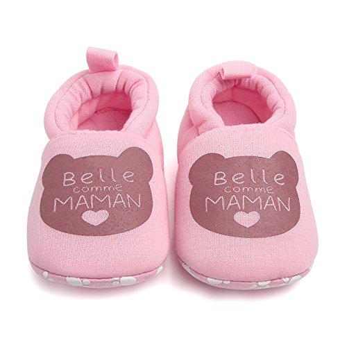 Niño Primera andadores bebé Zapatos de Dedo del pie Redondo Pisos Zapatillas Suave 3-12 Meses 6-9...