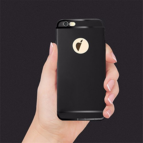 Accessories Innovator Soft Silicon Logo Cut Back Cover Case With Anti Dust Plugs for iPhone 6/6S (Black)
