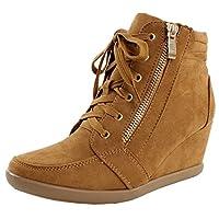 ShoBeautiful Women's Fashion Wedge Sneakers High Top Hidden Wedge Heel Platform Lace Up Shoes Ankle Bootie Tan 9