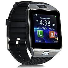 CHEREEKI Smartwatch Bluetooth Smartphone Uhr 4cm Touchscreen Armbanduhr unterstützt eigene SIM Karte und 32G Micro-SD-Karte mit Schrittzähler & Kamera für Android Smartphones (Silber)