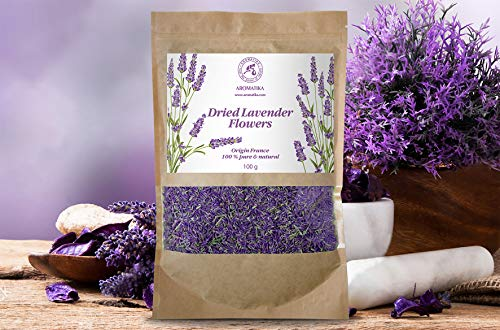Fiori di lavanda essiccata 100g - provenza francese - fragranti boccioli di lavanda - 100% puro & naturali - miglior odore di lavanda - fiori di lavanda secchi