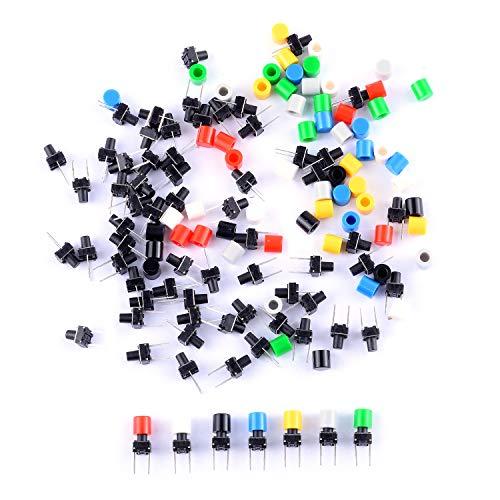 Cylewet, Interruttore tattile momentaneo tattile, 70 Pezzi, 6 × 6 × 8 mm, con Tappi a Bottone, 7 Colori per Breadboard Arduino (Confezione da 70) CLW1115