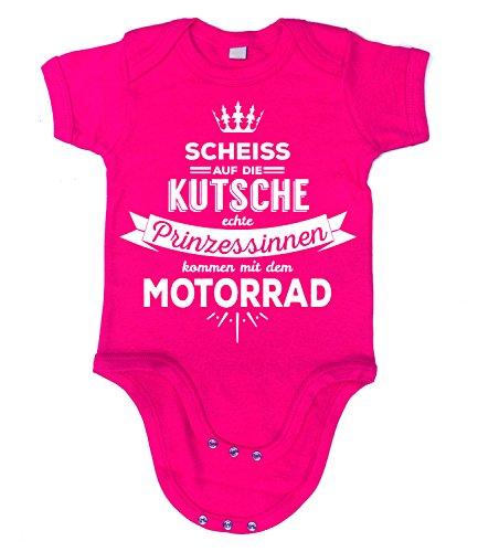 Artdiktat - Scheiß auf die Kutsche - Echte Prinzessinnen kommen mit dem Motorrad - Krone - Strampler 60/66, fuchsia (Kutten 7 Mädchen Für 16)