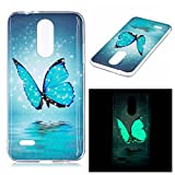 Coque LG K4 2017, Anlike Série Glow Etui Silicone Gel / Protection Full Silicone Souple Ultra Mince Fine Slim Transparente Souple Coque De Protection Pour LG K4 2017 - papillon bleu