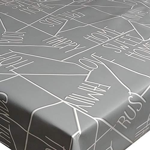d-c-fix Wachstuch Wachstischdecke Tischdecke Gartentischdecke Sweet Home Grau Silber Breite & Länge wählbar 130 x 180 cm Eckig abwaschbar Lebensmittelecht Geprägt