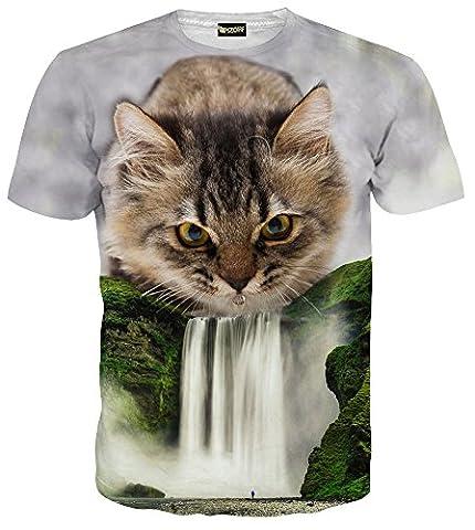 Pizoff Mens Womens Casual Short Sleeve Crew Neck 3D Digital Funny Cat Waterfall Print T Shirts Summer Tops C7058-01-S