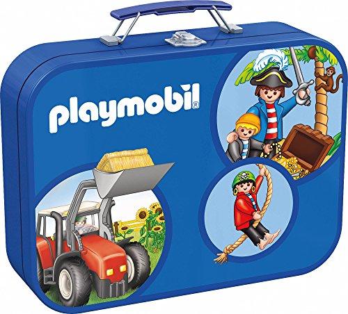 (Schmidt Spiele 55599 - Playmobil, Puzzle-Box 2 x 60, 2 x 100 Teile im Metallkoffer)