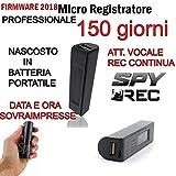 MICRO REGISTRATORE AUDIO 150 GIORNI SPY SPIA MINI AMBIENTALE USB CON CALAMITA NASCOTO